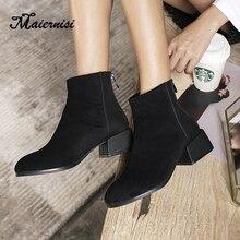 цена MAIERNISI Women Boots Autumn Winter Boots Flock Classic Snow Mid-Calf Boots Winter Suede Warm Plush Women Shoes Plus size 34-43 онлайн в 2017 году
