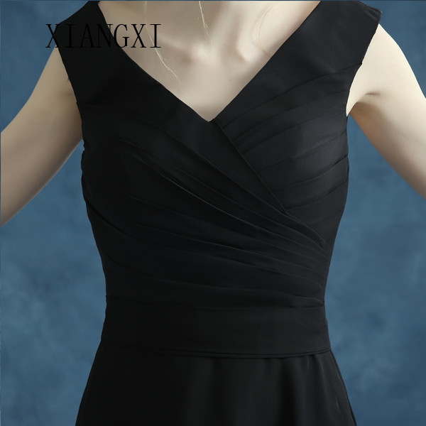 2020 Hot Black Evening Dresses Long A-Line V-Neck Sleeveless Chiffon Evening Dress Formal Dress Vestido De Festa abendkleider