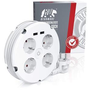 Image 5 - Mehrere Power Streifen Elektrische Steckdosen 4 weg Runde 2 USB Ladegerät Schalter Outlets Beleuchtete Wand Montage Rund Roll up kabel