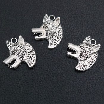8pcs Hip-hop Style Animal Metal Pendant, Wolf Charm, Wolfhound Charm, Gifts For Hunting Lovers, DIY Jewelry Handicrafts 35*29mm image