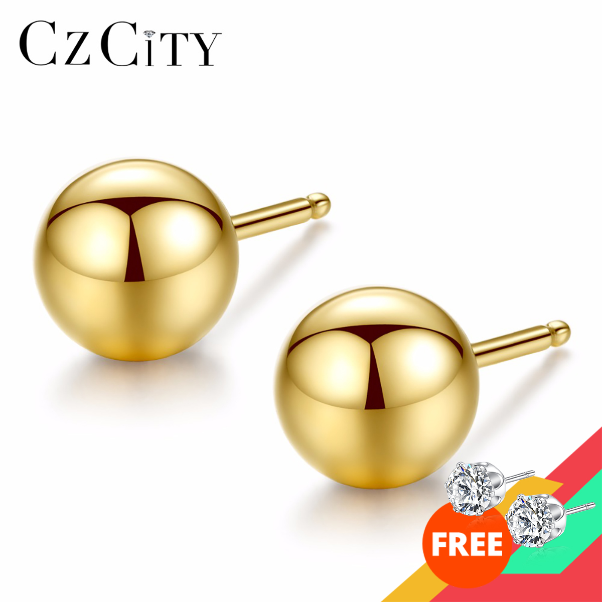CZCITY Luxury Brand Charm Authentic Pure 18k Yellow Gold Round Bead Ball Stud Earrings For Women Daily Wear Gold Earring Jewelry