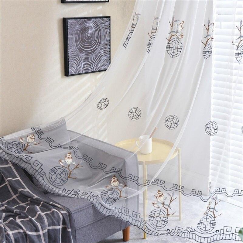 Nuevo estilo chino, tul bordado geométrico, cortinas para sala de estar, dormitorio, cortina hecha a medida, gasa transparente AG388 #4 NEO Coolcam Smart Home Z Wave Plus, interruptor inteligente de cortina para cortina eléctrica motorizada, persiana enrollable