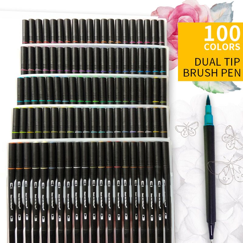 Dual Tips 48/60/72/100 Art Marker Water Based Ink Soft Fine Brush Pen With PP Package