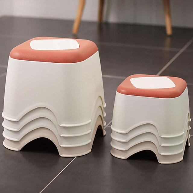 Plastic Thicken Stool Household Coffee Table Change Shoe Bench Bathroom Child Non-slip Small Bench Square Stool Low Stool 1