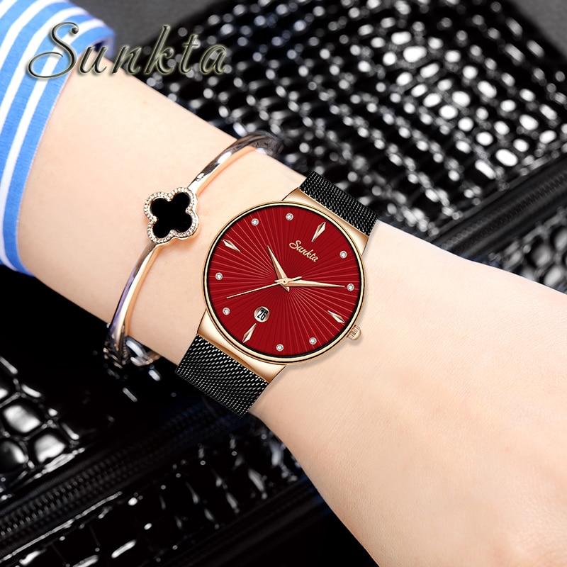SUNKTA Damen Uhren Quarz Frauen Uhr Mode Einfache Wasserdichte Uhr Dame Mädchen Frau Luxus Geschenk Marke Uhr Zegarek Damski-in Damenuhren aus Uhren bei  Gruppe 1