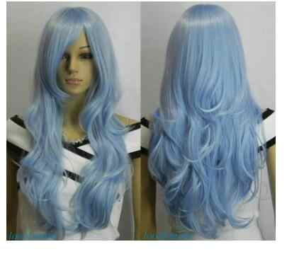 Yshun ใหม่ Light Blue Long Wavy COSPLAY วิกผมผู้หญิง USPS FastShipping TO USA j0157 A0312)
