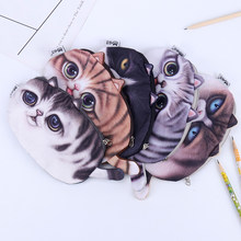 1PC Kawaii Cats Zipper Pencils Coin Pocket Bags Cute 3D Plush Pencils Case Large Capacity School Student Stationery Gift(China)