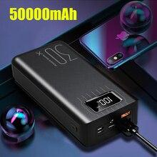 50000 мАч Внешний аккумулятор для iPhone 11 pro 6 6s 7 8 Plus X XS max XR Pover Bank USB светодиодный внешний аккумулятор для зарядки