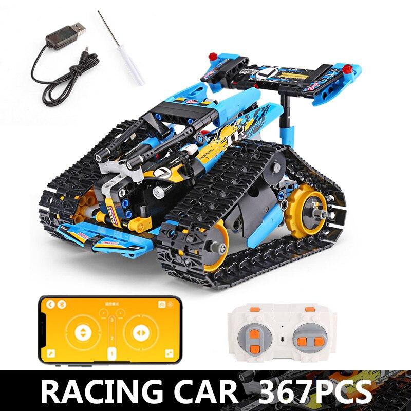 Функция питания от двигателя, Радиоуправляемый гусеничный гонщик, электрический, подходит для автомобиля, Legoing, 42065 скоростной автомобиль, строительный блок, кирпичи, модель, подарок для детей - Цвет: 13033-367pcs
