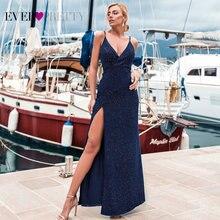 섹시한 해군 블루 이브닝 드레스 EP07845 섹시한 v 목 스파클 다리 슬릿 긴 공식 파티 가운 Abendkleider 2020