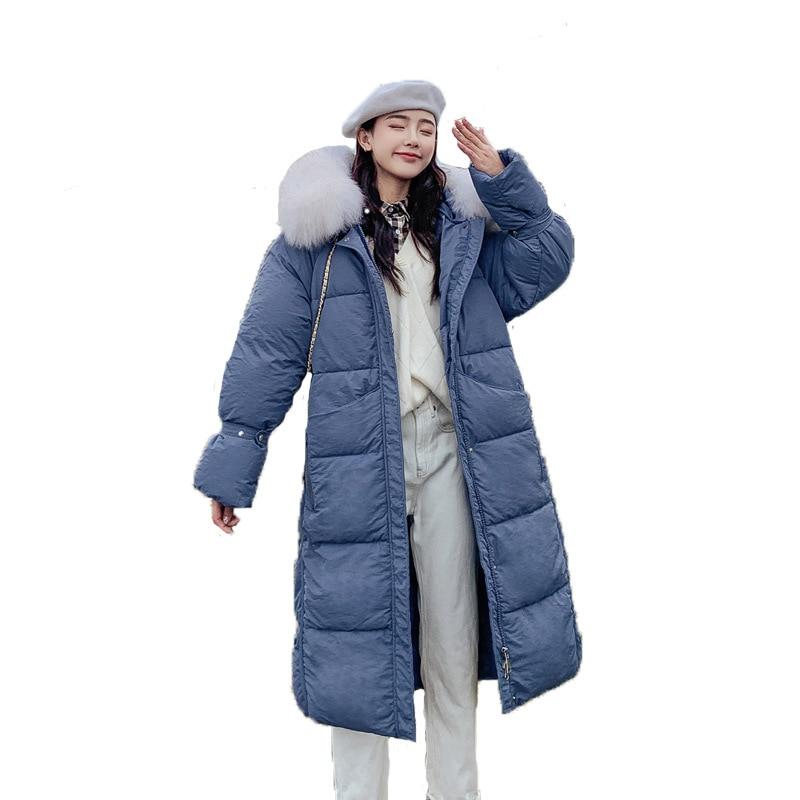 2019 Новое хлопковое пальто женское зимнее длинное пальто с большим меховым воротником пуховое хлопковое стеганое одеяло большого размера с...