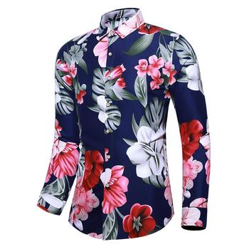 Casual Dress Men Shirts Turn-down collar Long sleeve Floral Casual Shirt for Men's clothing Blouse Man Black Navy turn down collar covered button spliced design long sleeve shirt for men