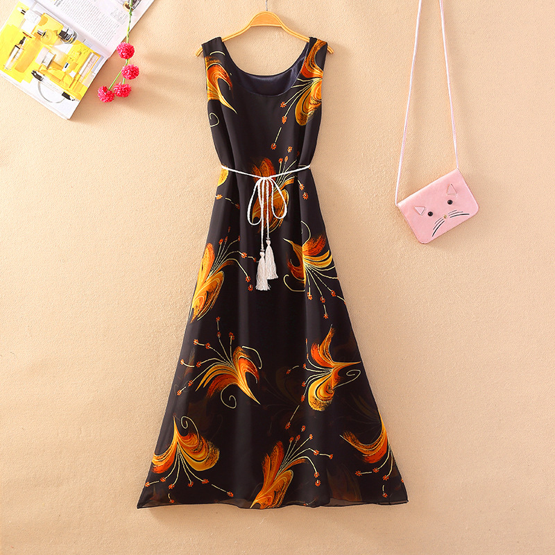 jummarron 2020 Summer new loose home breathable dress light clothes Korean of high waist slimming knee plus size women dresses