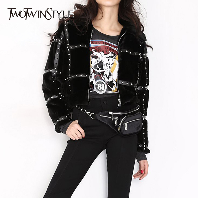 TWOTWINSTYLE PU Leather Patchwork Fur Rivet Jackets Female Lapel Collar Long Sleeve Hit Color Autumn Winter Coats Women Clothing