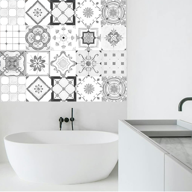 grey moroccan style tiles stickers pvc waterproof self adhesive wall stickers bathroom diy removable tile sticker