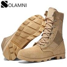 الأحذية العسكرية المهنية للرجال قوة خاصة الجلود الصحراء أحذية قتالية رجالي في الهواء الطلق مقاوم للماء الجيش حذاء من الجلد