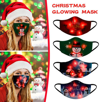 Fashion LED Christmas Mask Mascarillas Adult Unisex Prinitng Masks Washable Fashion Outdoor Mask Dustproof Cotton Light Mask image