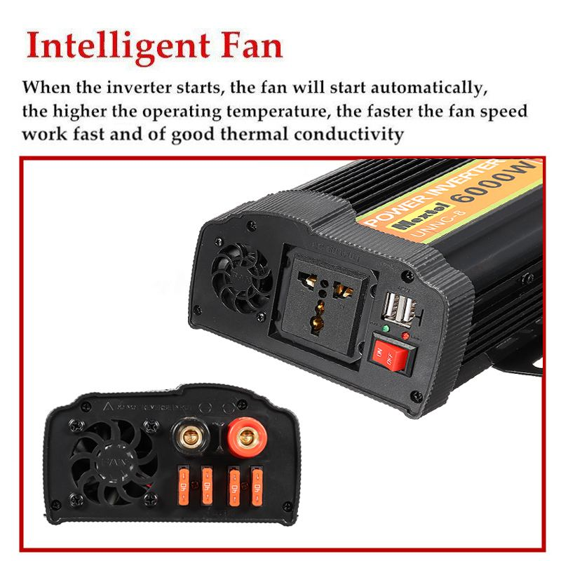 Dual USB Max 12000 Watt 6000W Omvormer DC 12 V naar AC 220 Volt Auto Adapter Lading Converter gemodificeerde Sinus Transformator - 3