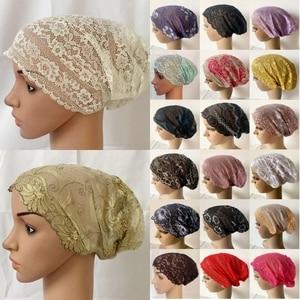Full Cover Head Inner Cap Flower Lace Muslim Headscarf Islamic Headwear Underscarf Beanie Skullies Indian Hat Women Turban Hijab