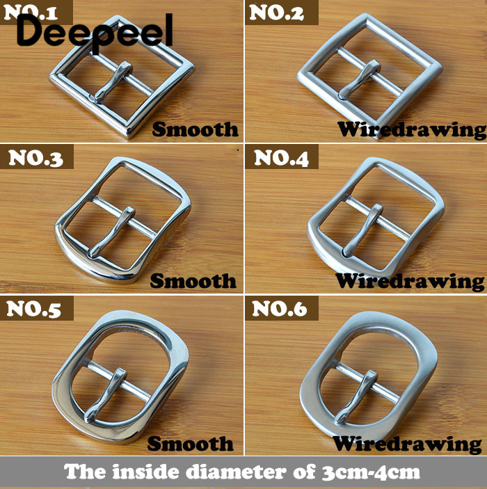 Deepeel 1pc 3-5*5-6cm Unisex Classic Pin Buckle Stainless Steel Smooth Wiredrawing Craft Men's And Women's Belt AccessoriesYK785