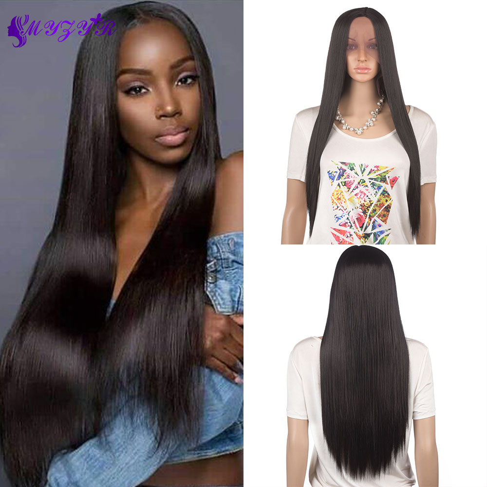 Wig Hand-Tied Long-Wigs Lace-Front Middle-Parting High-Temperature-Fiber Straight Synthetic