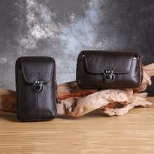 Multifuncional hombres de negocios llevar cartera bolsa teléfono móvil bolsas verticales Horizontal sección cuero Delgado impermeable caja de cinturón
