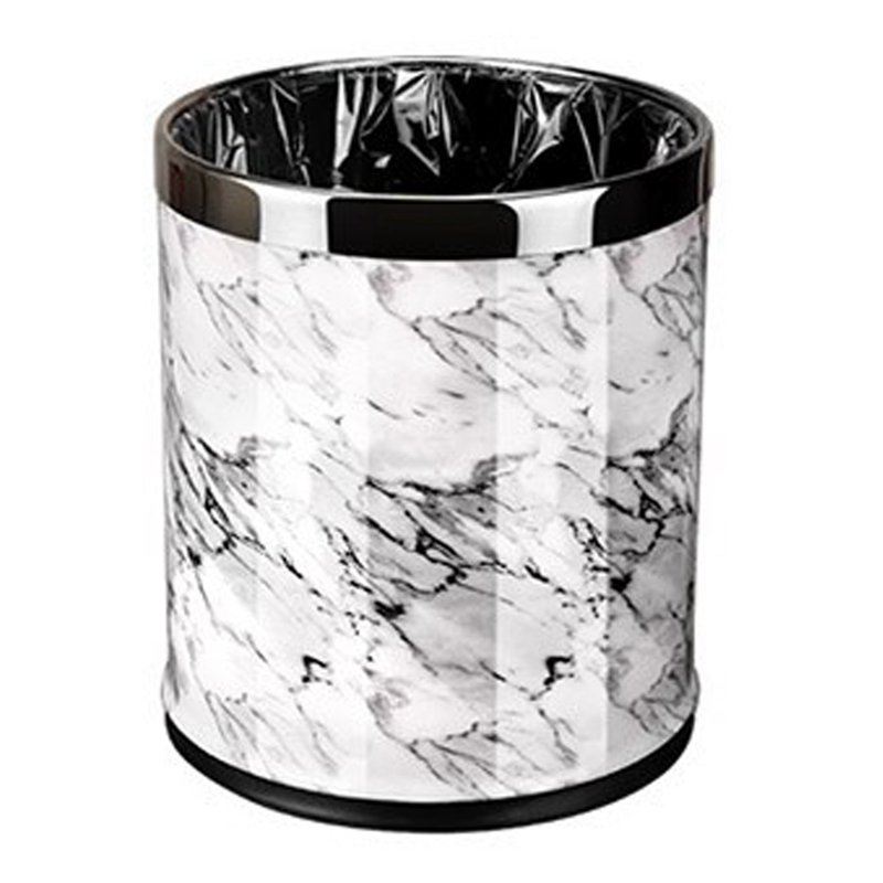Marble Pattern 10L Trash Can Bin Buckets Diameter 23Cm Height 27Cm Waste Bins Living Room Bathroom Kitchen Dustbin Trash Bin|Waste Bins| |  - title=