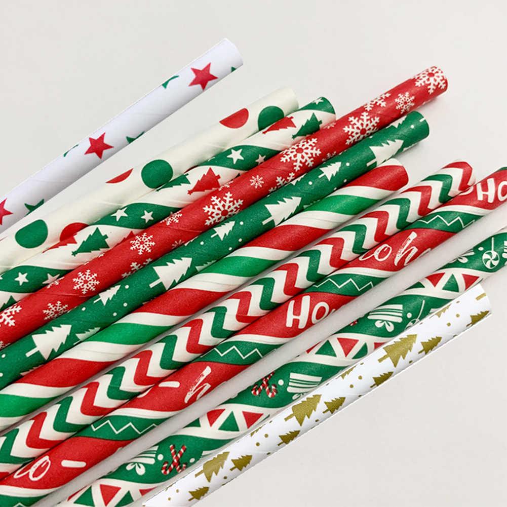 25 個クリスマスドットスノーフレーク木プリント使い捨て紙ストロー装飾