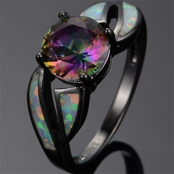 Fashion Women Ring Multicolor Mystic Rainbow Zircon White Imitation Fire Opal Ring For Women Accessories