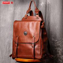 Genuine Leather Mens Backpack Casual Men travel Backpacks Large Capacity Computer Bag Retro Leather Male School bags Tide