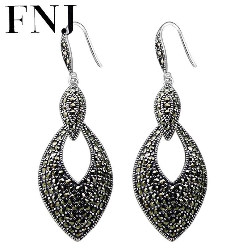 FNJ 925 boucles d'oreilles en argent oeil nouvelle mode MARCASITE Original S925 en argent Sterling goutte boucle d'oreille pour les femmes bijoux