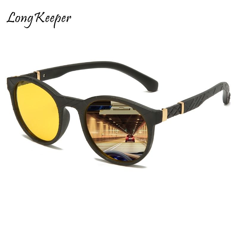 Fashion Driver's Glasses Night Vision Polarized Men Glasses Brand Designer Round Yellow Lens Driving Sunglasses Man Eyewear