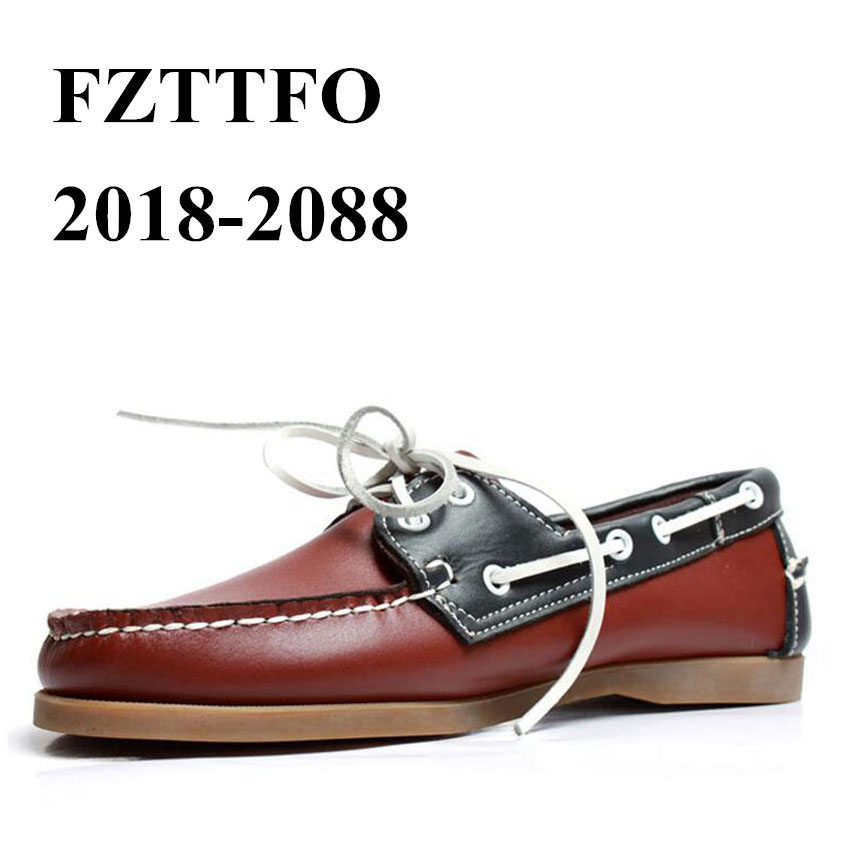 Men Genuine Leather Driving Shoes,Docksides Classic Boat Shoe,Brand Design Flats Loafers For Men Women 2019A021