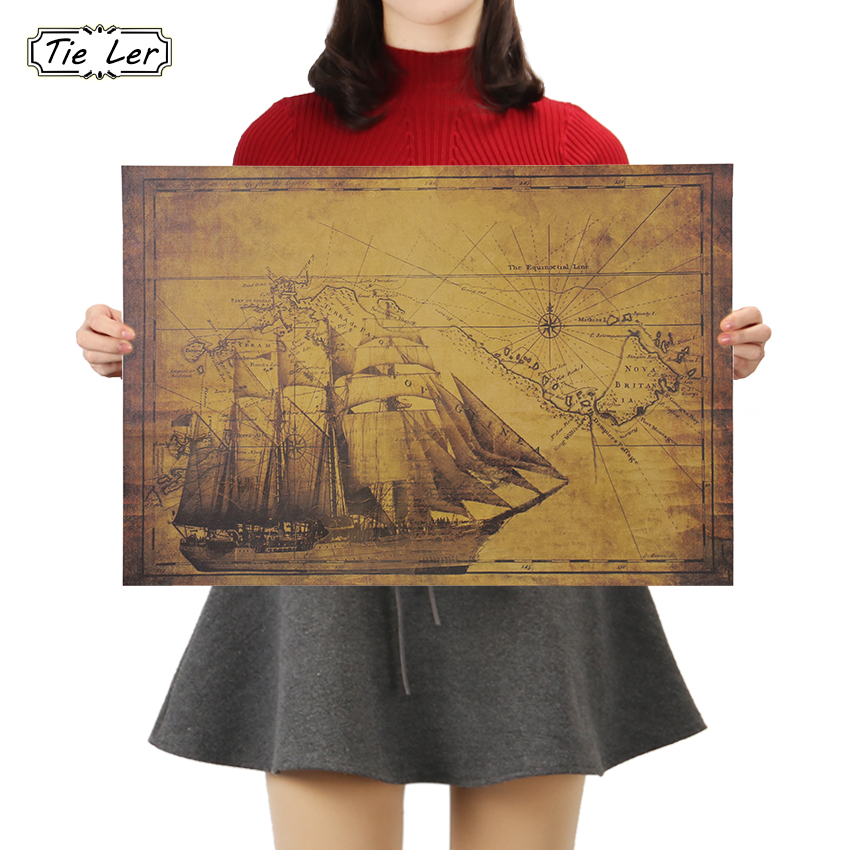 TIE LER Sailing Route Illustration Collection Poster Cafe Bars Kitchen Vintage Kraft Paper Decor Posters Adornment Wall Stickers
