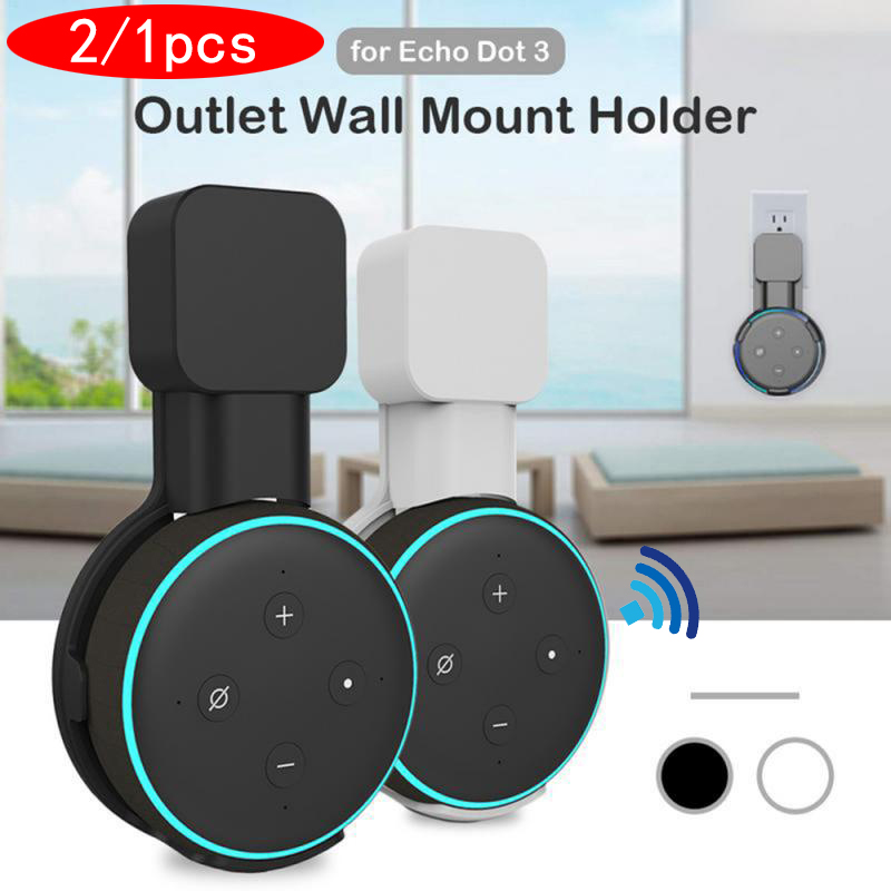 2/1pcs For Amazon Alexa Echo Dot 3rd Generation US Plug Outlet Wall Mount Hanger Holder Stand Space Saving Bracket Accessories