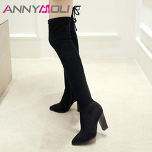 ANNYMOLI Winter Thigh High Boots Women Zipper Thick High Heels Over the Knee Boots Sexy Slim Stretch Shoes Lady Plus Size 33-43 цена 2017