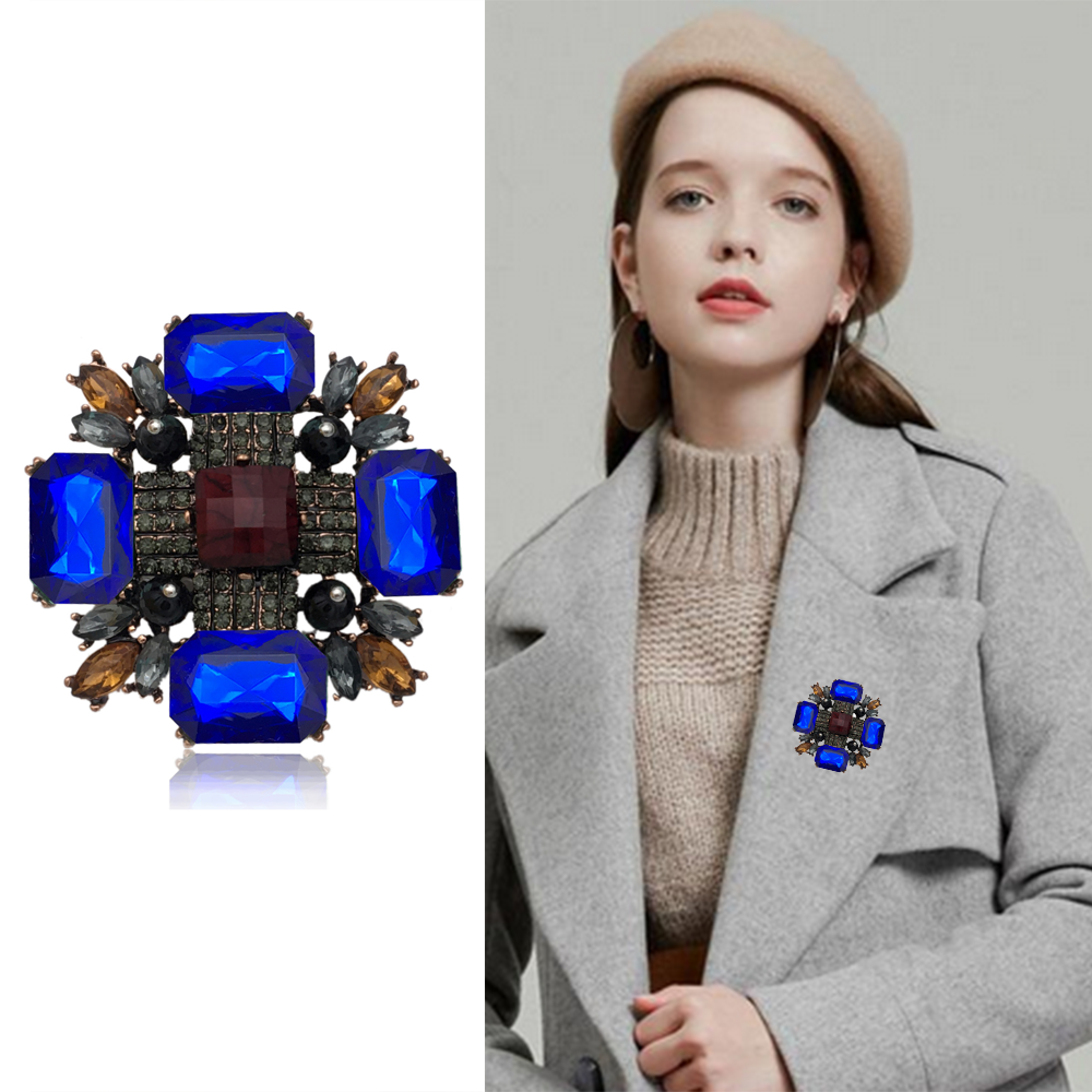 Fashion Europe Crystal Cross Brooches Unisex Women and Men  Vintage Large Pins Cool Design Baroque Style