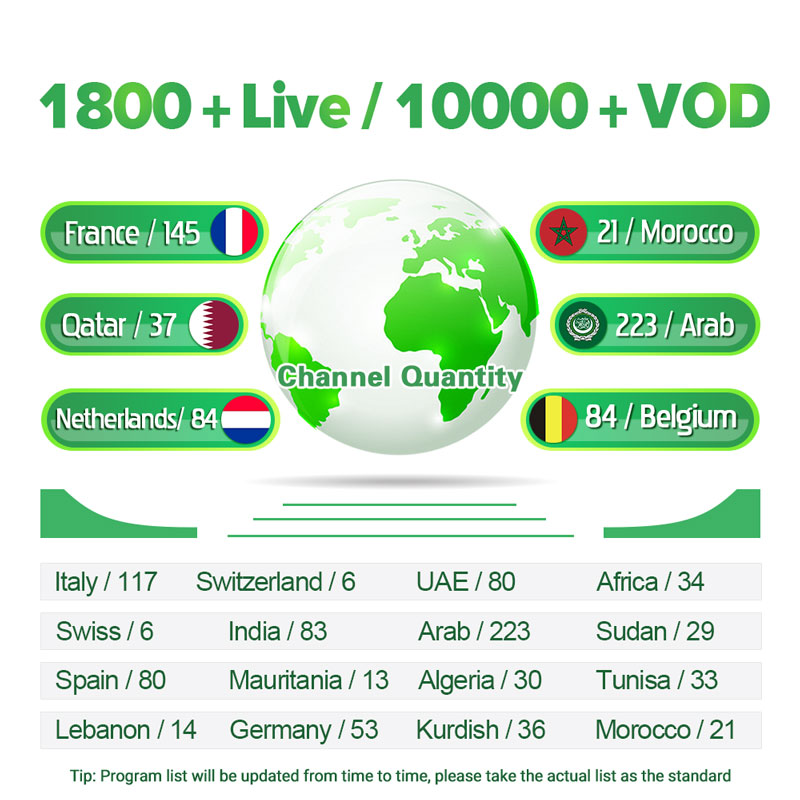 IPTV Arabic Netherlands Spain 1 Year IPTV Subscription Android M3u MAG H.265 Belgium IPTV Spain Qatar Algeria IP TV