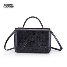 NAiSIBAO 2019 New Cowhide women Genuine Leather bag Embossed fashion luxury handbags designer tote shoulder