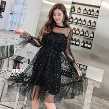 Spring and autumn new style Korean version of temperament mesh long elastic waist dress