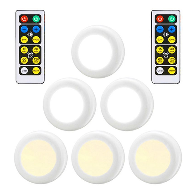 New LED Night Light 3 Colors Wireless Remote Control Battery Powered Under Cabinet Dimmable Lights For Kitchen Wall Closet Lamp
