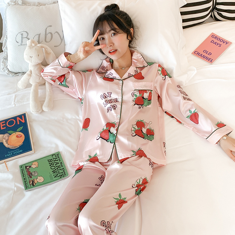 Pajamas Women's Spring And Autumn Viscose Long Sleeve Thin Two-Piece Set Silk Cute Fresh Students Summer Home Wear