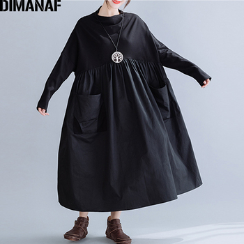 DIMANAF Plus Size Winter Vintage Women Dress Oversize Loose Pleated Female Lady Vestidos Elegant Solid Black Long Sleeve Dress plus embroidered mesh insert pleated sleeve bardot dress