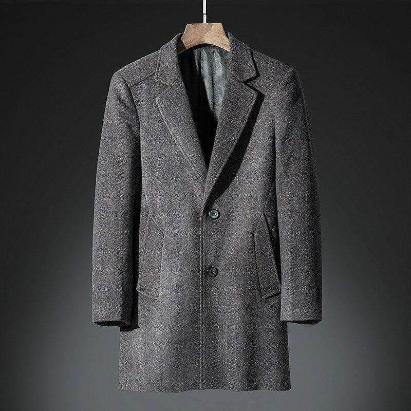 Coat Cashmere-Coat Long-Wool-Blend Male Thick Autumn Plus-Size High-Quality Blue Dark