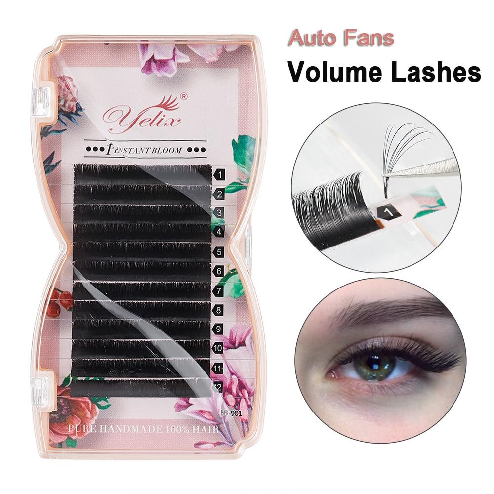 Yelix Easy Fan Volume Lashes Auto Bloom Eyelash Extension Faux Mink Individual Eyelashes Thick Natural Camellia False Eyelashes