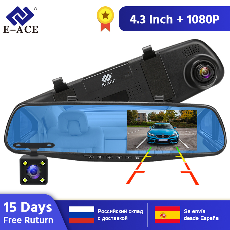 E-ACE <font><b>Dvr</b></font> Dash Camera <font><b>Car</b></font> <font><b>Dvr</b></font> <font><b>mirror</b></font> FHD 1080P 4.3 Inch Dual Lens With Rear View Camera Auto Video Recorder Registratory image