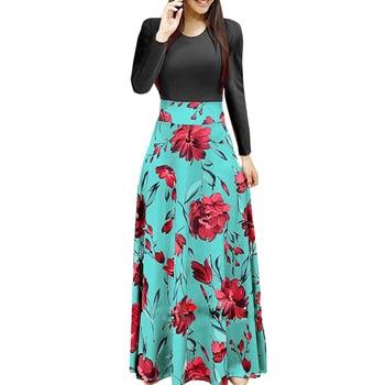 Spring Women Maxi Dress Vintage Floral Print Splice Casual Long Sleeve Dress 5XL Plus Size Elegant Ladies Long Dresses Vestidos 3