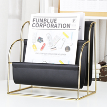 Office Home Hotel PU Leather Metal Display Plating Fashion Magazine Rack Desk Storage Organizer