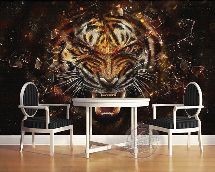 Large Mural Wallpaper Customizable Living Room Theme Hotel Bar Ktv3D Stereo Tiger Back