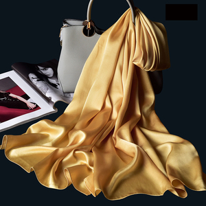 Image 5 - 100% Real Silk Scarf Women Bufanda,Hangzhou Silk Shawls,Wraps for Lady Solid Neckerchief Natural Silk Satin Scarf Foulard Femme